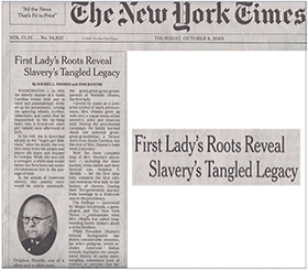 The New York Times - First Lady's Roots Reveal Tangled Legacy