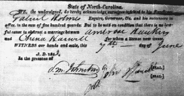 1823 Marriage of Ambrose Hawkins and China Harwell