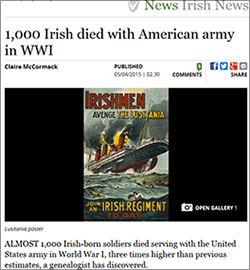 1,000 Irish died with American army in WWI