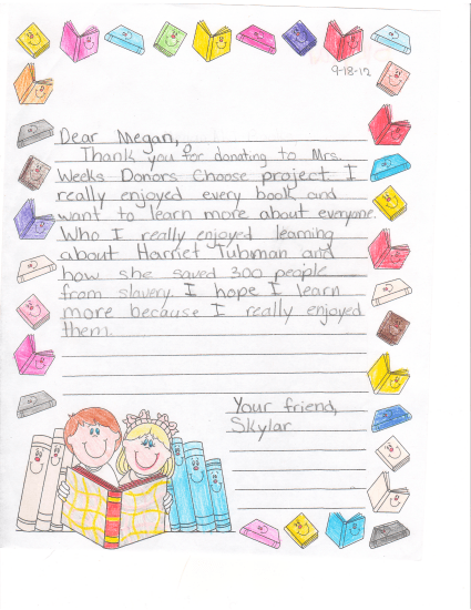 Thank you note from Mrs. W's class for Seton Shields Genealogical Grant