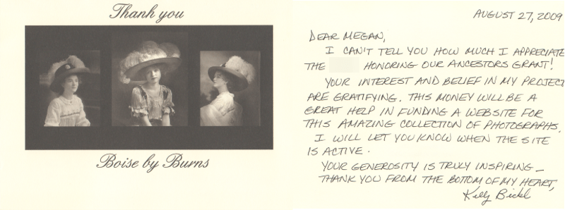 Boise by Burns grant thank you note