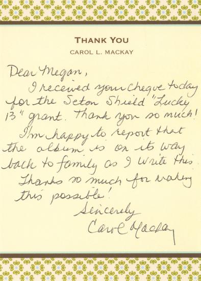 Carol Mackay grant thank you