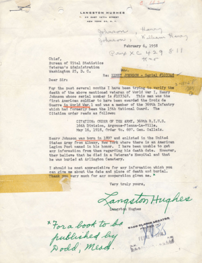 Langston Hughes letter re Sgt. William Henry Johnson