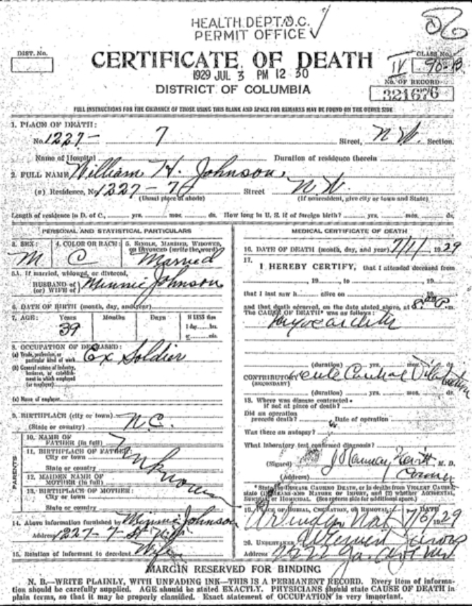 Sgt. William Henry Johnson death certificate