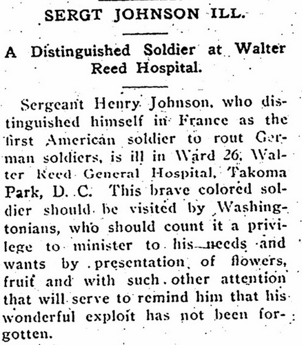 Sgt. William Henry Johnson ill in hospital newspaper article