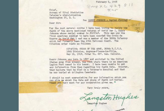 Langston Hughes Letter