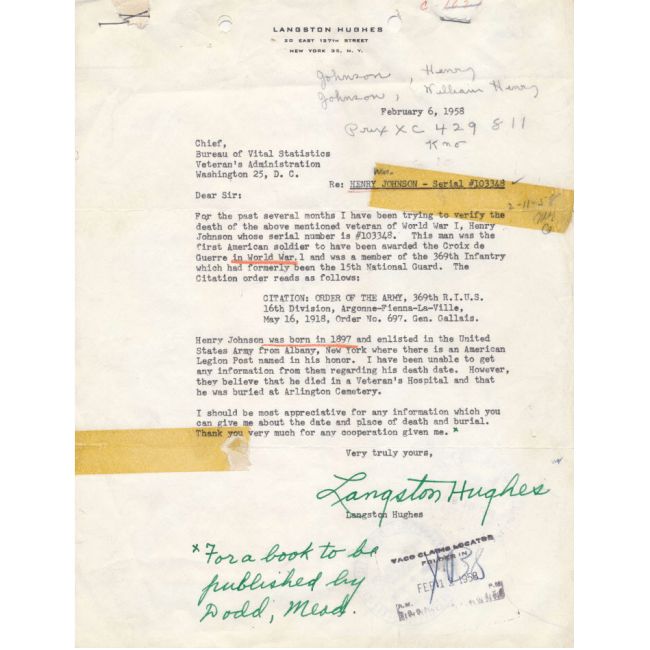 view larger image langston hughes letter re sgt william henry johnson