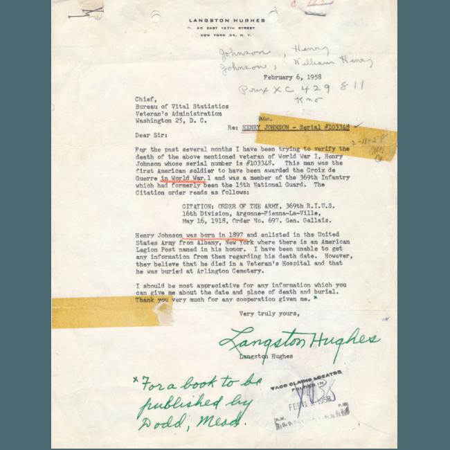 Langston Hughes letter re Sgt. William Henry Johnson