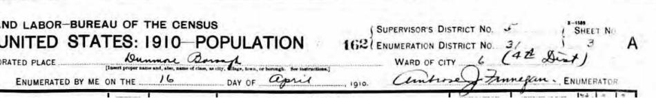 Ambrose Finnegan signature 1910 census