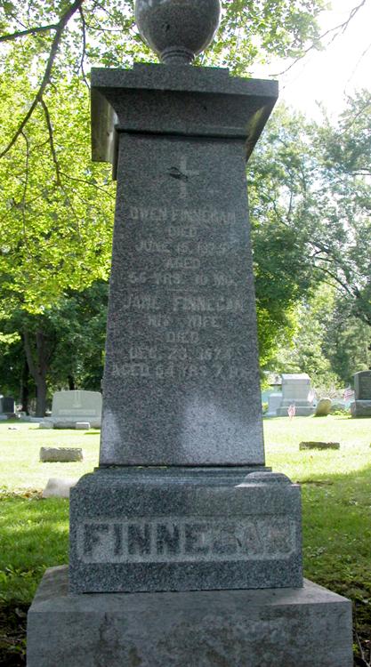 Finnegan grave marker at Holy Cross Cemetery