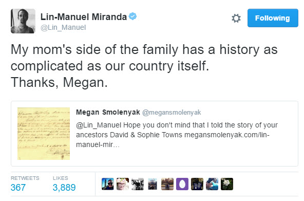 Lin-Manuel Miranda Towns tweet June 2016