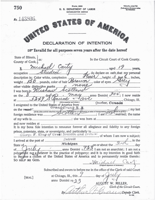 Declaration of Intention to become a U.S. citizen for Michael Carty completed in 1923 when he was still using the original version of his name. Source: Cook County Clerk of the Circuit Court
