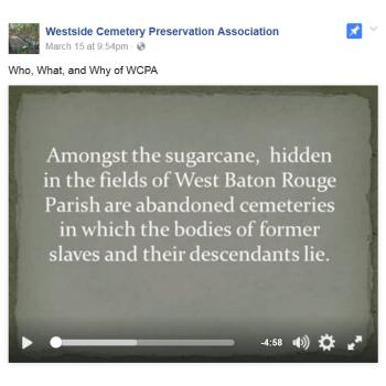 Westside Cemetery Preservation Association video