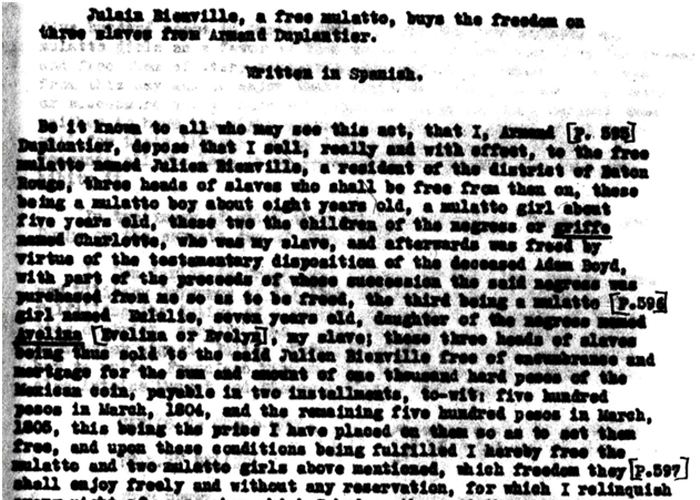 Document pertaining to Julien Bienville's freeing of St. Luc and Mary