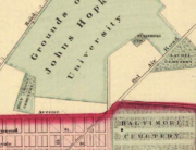 1876 map showing Laurel Cemetery
