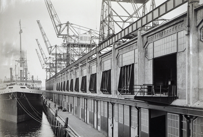 Ship in Rotterdam Harbor circa 1925
